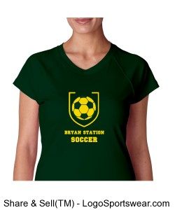 Ladies Wicking V-neck Tee (Green) Design Zoom